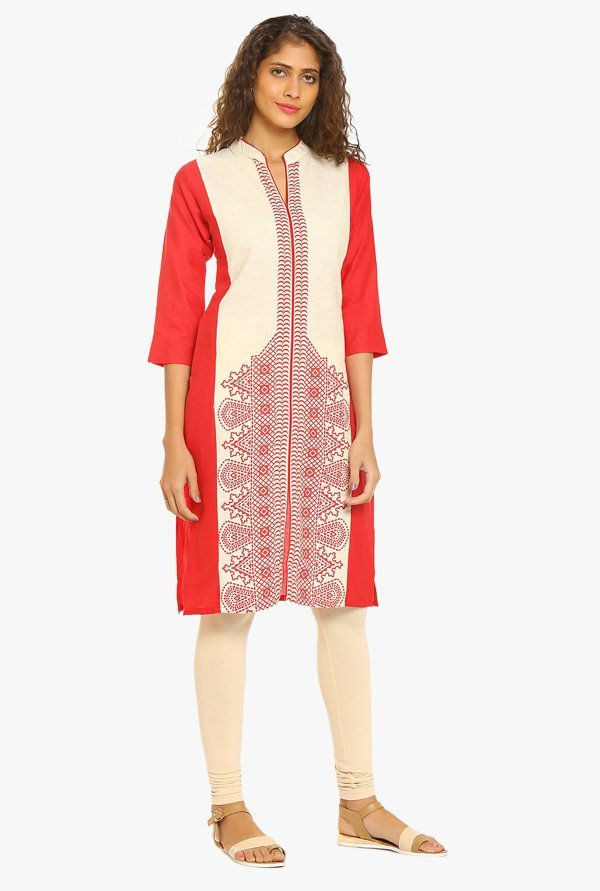Soch Red & Off White Printed Cotton Kurta