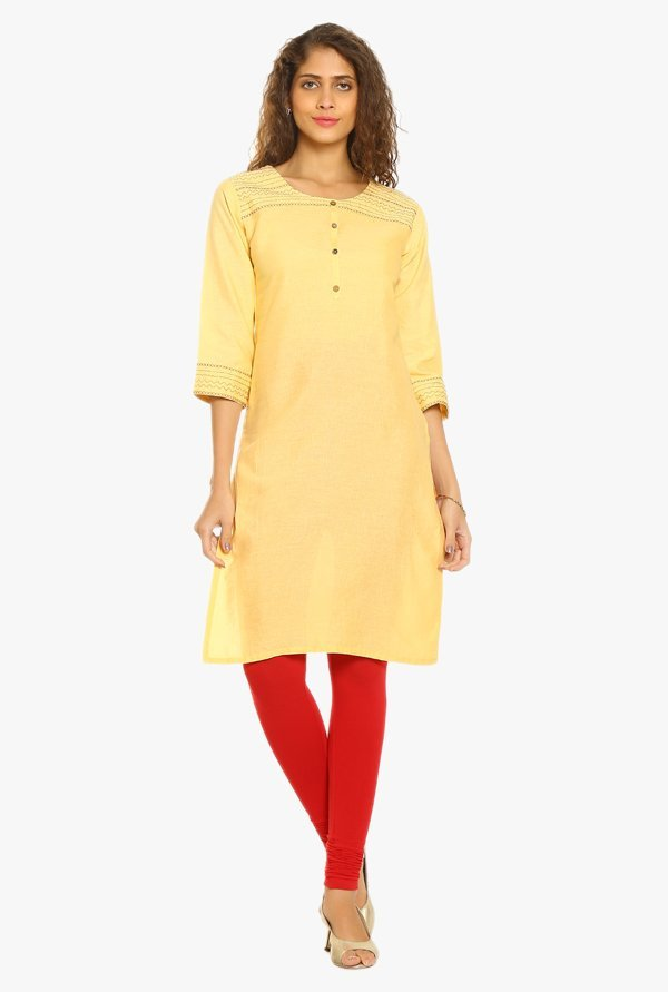 Soch Yellow Cotton Kurta