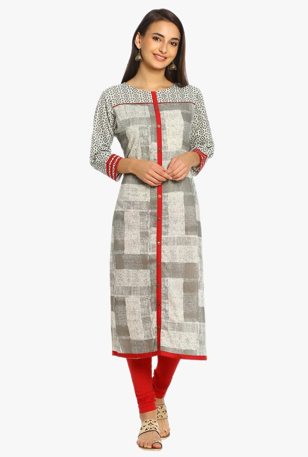 Soch Grey Printed Cotton Kurta