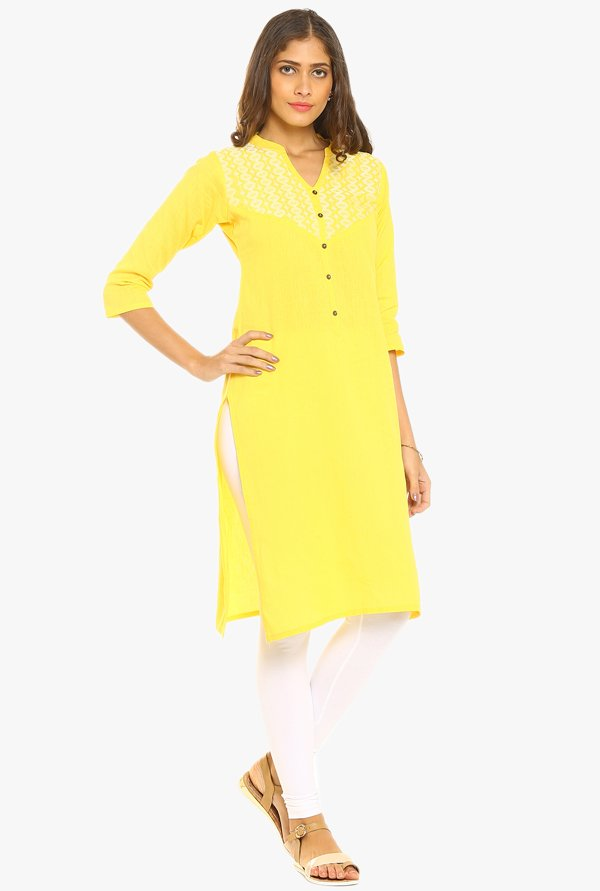 Soch Yellow Embroidered Cotton Kurta