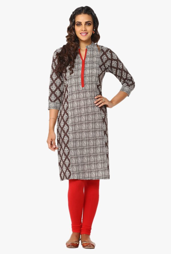 Soch Brown & Off White Printed Cotton Kurta