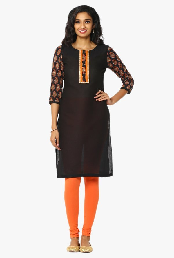 Soch Black Regular Fit Cotton Kurta