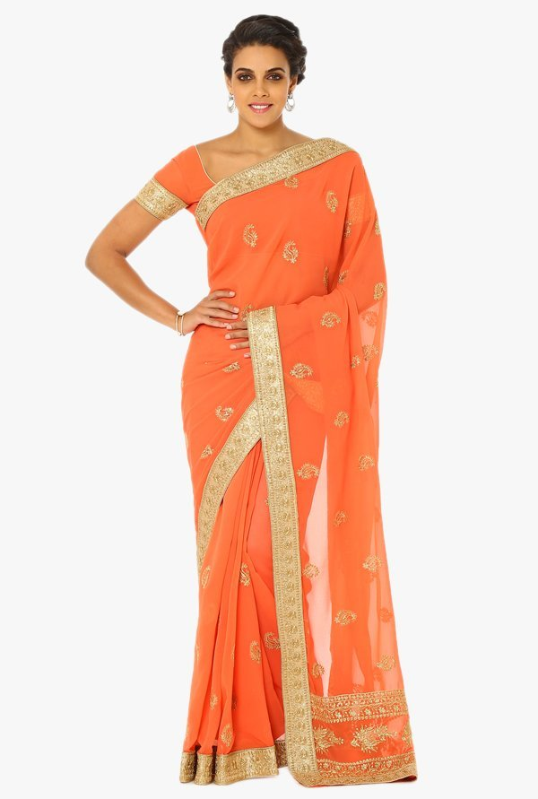 Soch Peach Embroidered Georgette Saree