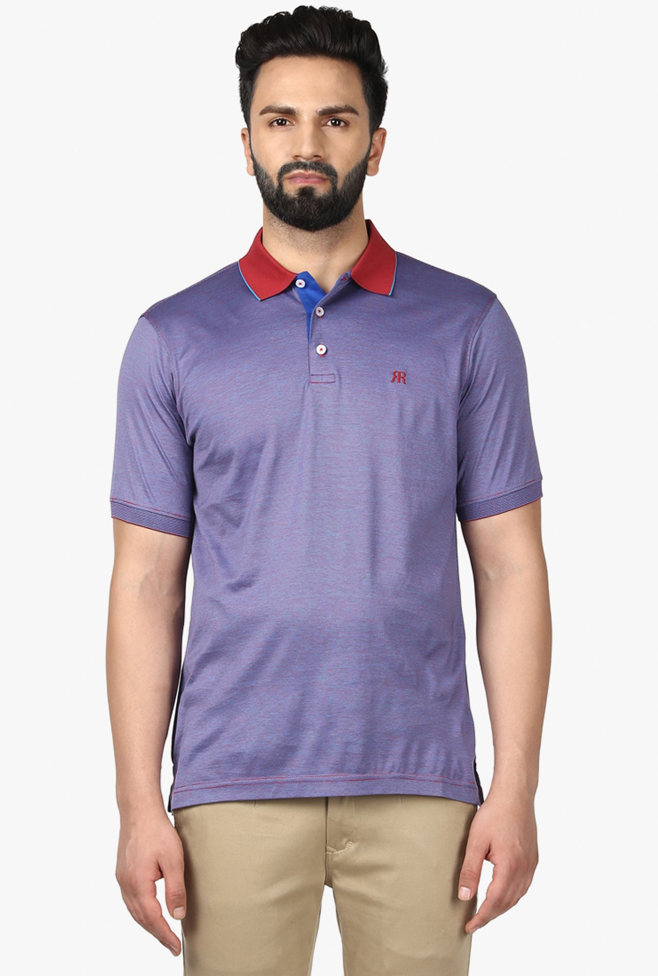 Raymond Purple Half Sleeves Striped T-Shirt