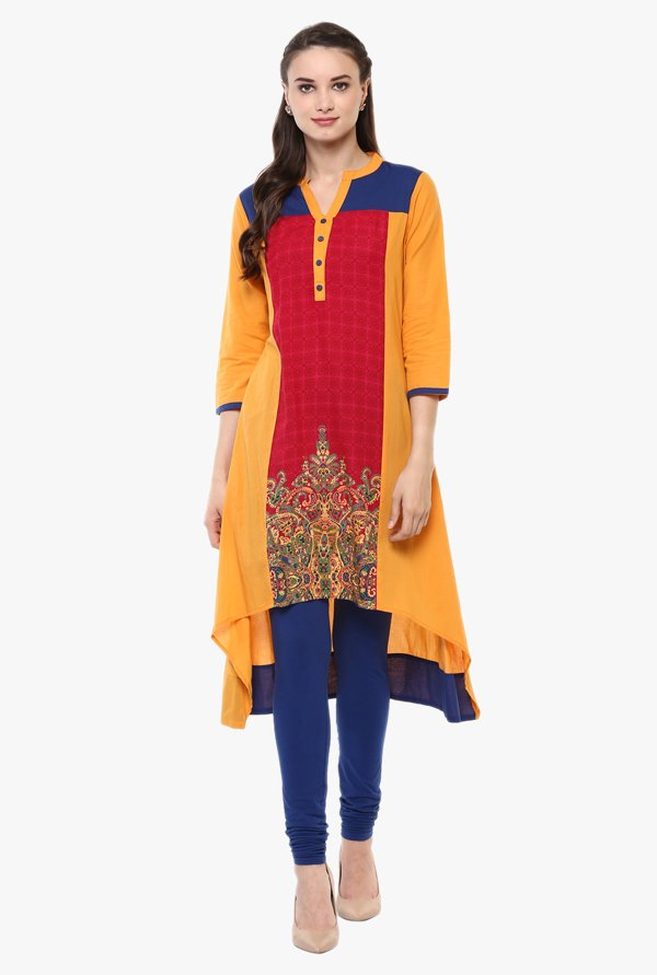 Avaana Yellow & Red Printed Cotton Cambric Kurta