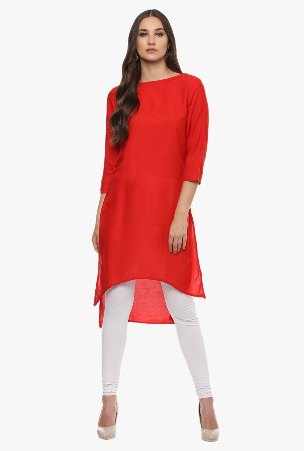Avaana Red Round Neck Rayon Kurta