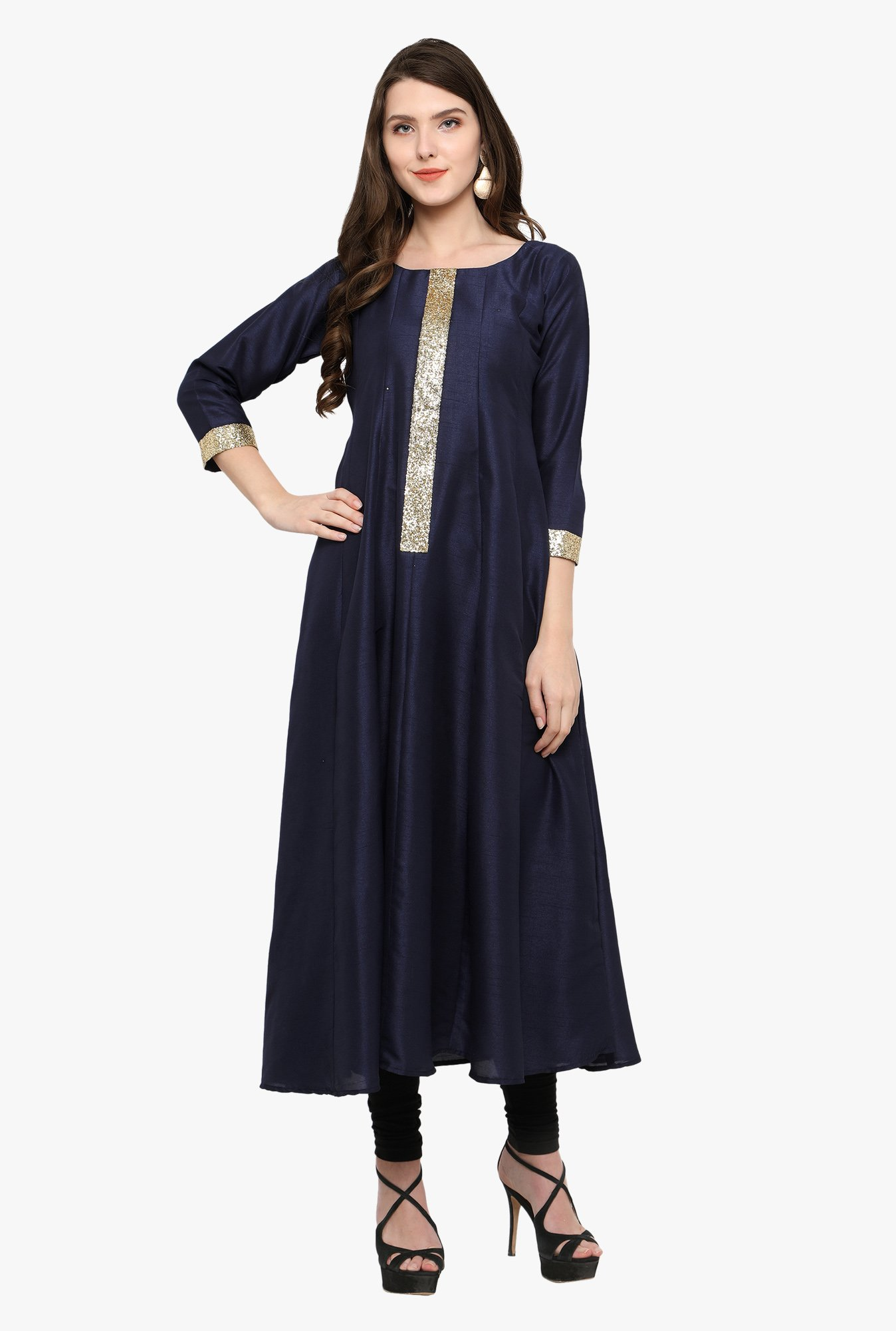 Ahalyaa Navy Textured Poly Silk Anarkali Kurta