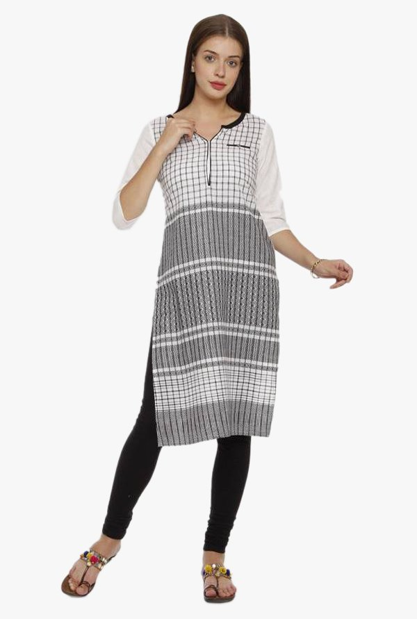 Aurelia Off White & Black Checks Cotton Kurta
