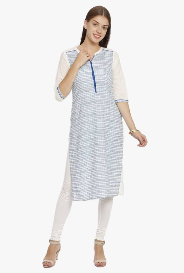Aurelia Blue & White Checks Cotton Kurta