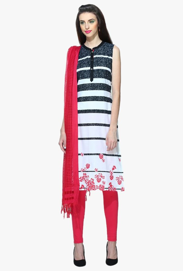 Aurelia Black & White Printed Cotton Kurta