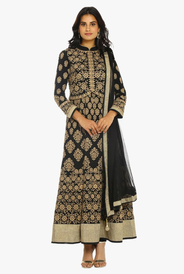 Soch Black & Beige Embroidered Chanderi Suit Set