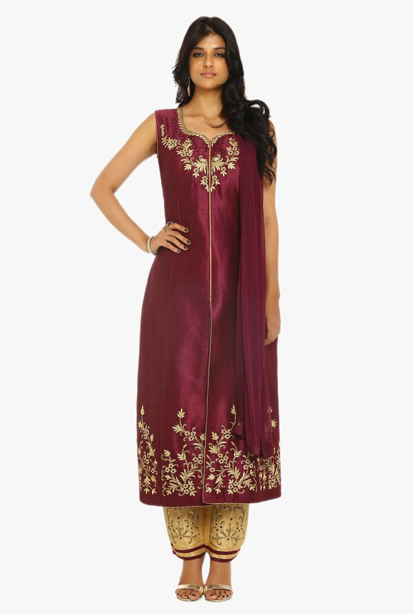 Soch Wine & Gold Embroidered Raw Silk Suit Set