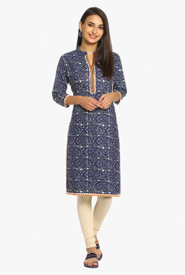 Soch Navy Geometric Print Cotton Kurta