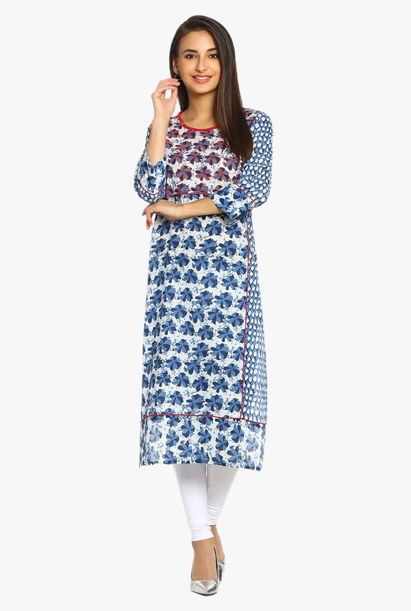 Soch Blue & Off White Printed Cotton Kurta