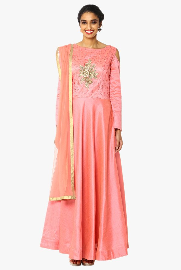 Soch Peach Embroidered Chanderi A Line Anarkali Suit Set