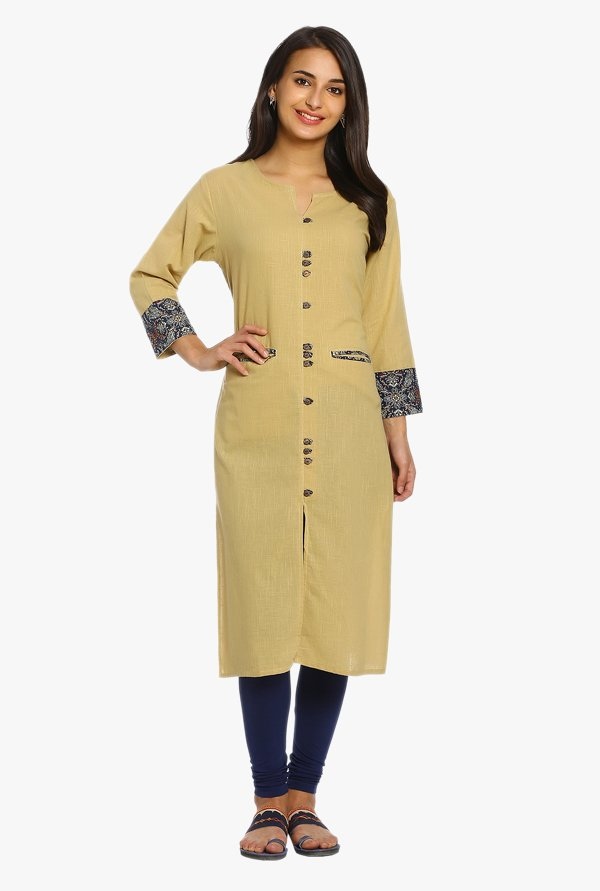 Soch Beige Textured Cotton Kurta
