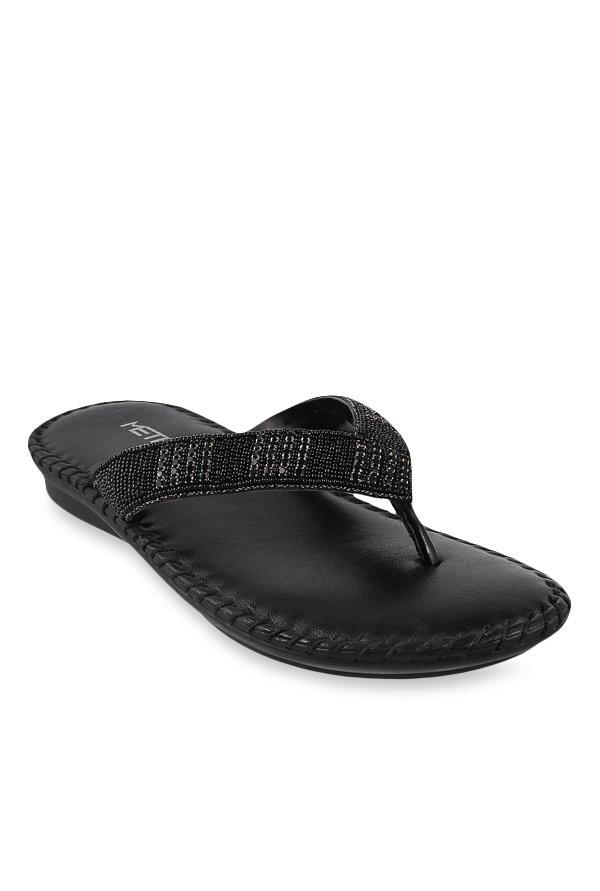 Buy Metro Black Thong Sandals for Women