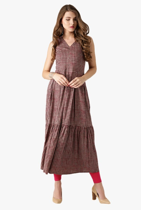 Libas Beige & Brown Checks Rayon Kurta
