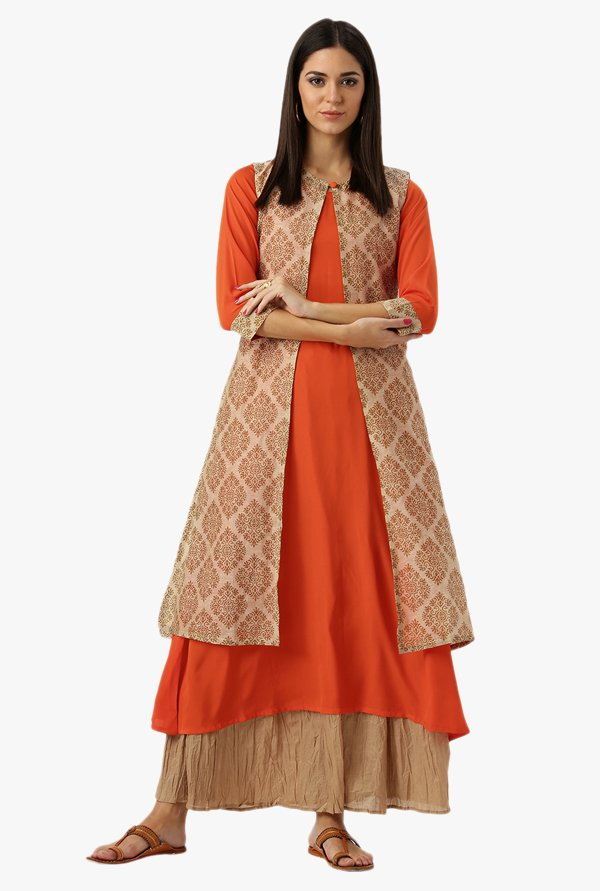 Libas Orange & Beige Printed Cotton Kurta