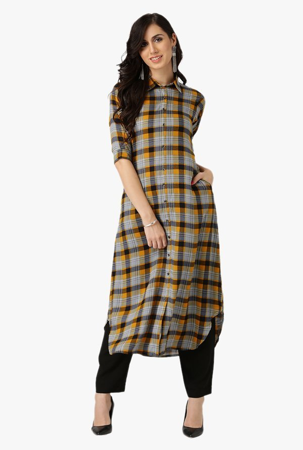 Libas Multicolor Checks Rayon Kurta