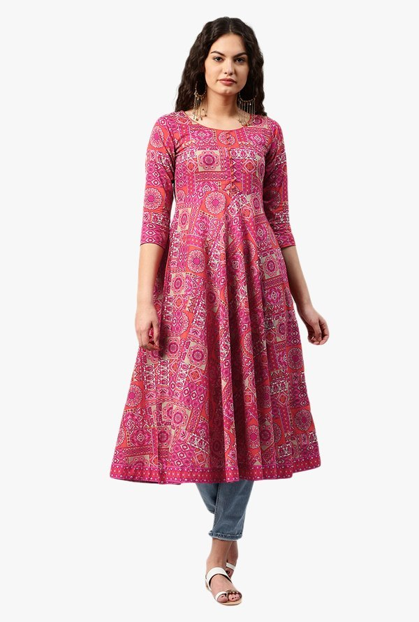 Libas Pink Printed Cotton Kurta