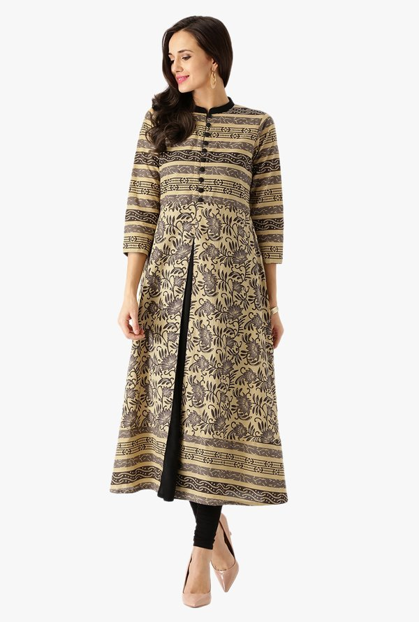 Libas Beige Printed Cotton Kurta
