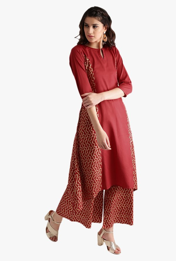 Libas Red Printed Cotton Kurta With Palazzo