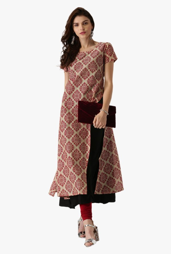 Libas Beige & Red Printed Cotton A Line Kurta