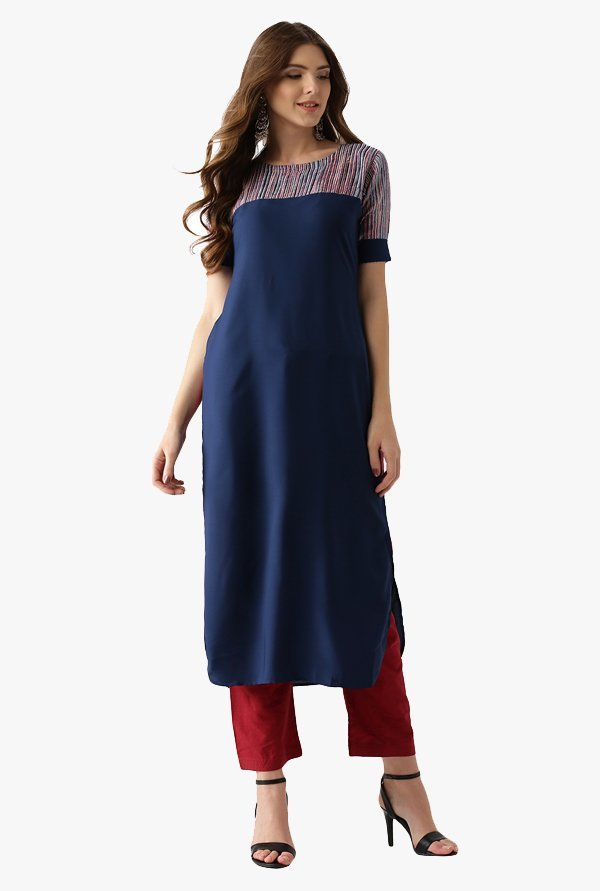 Libas Navy Regular Fit Polyester Pathani Kurta