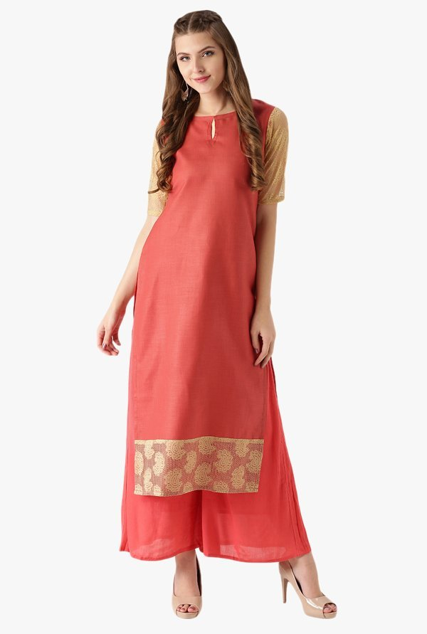 Libas Coral Textured Cotton Straight Kurta