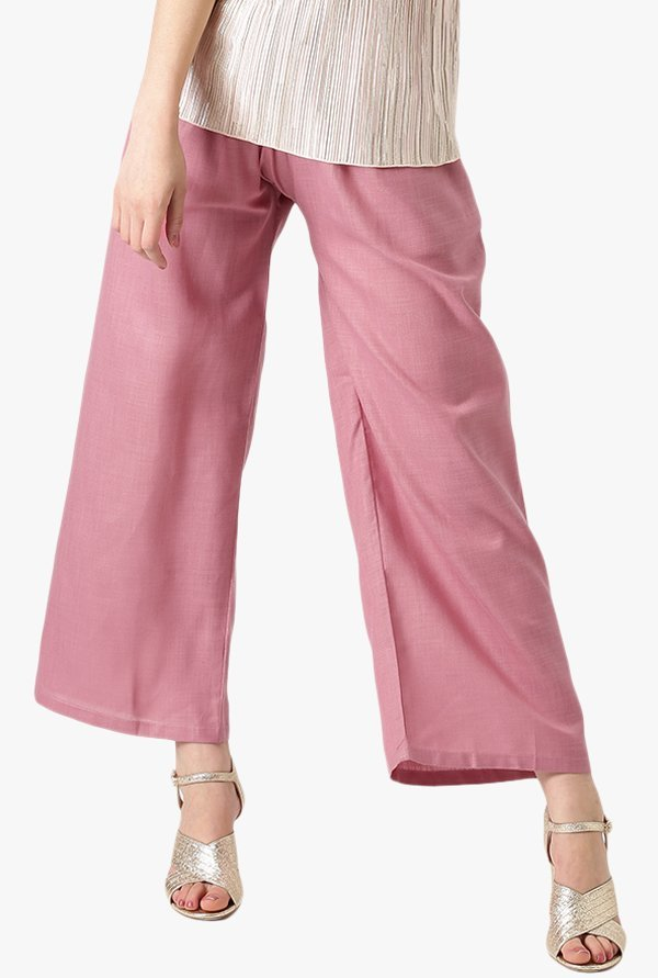 Libas Pink Textured Cotton Palazzo