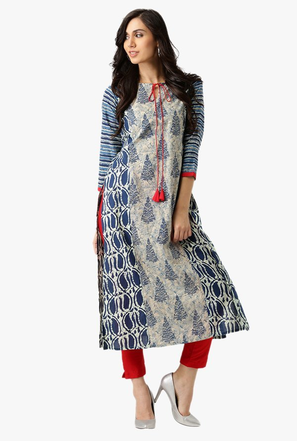 Libas Navy & Beige Printed Cotton Kurta