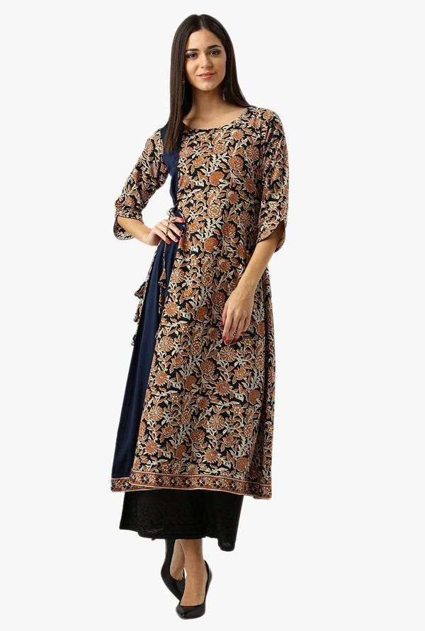 Libas Navy & Brown Printed Cotton Kurta