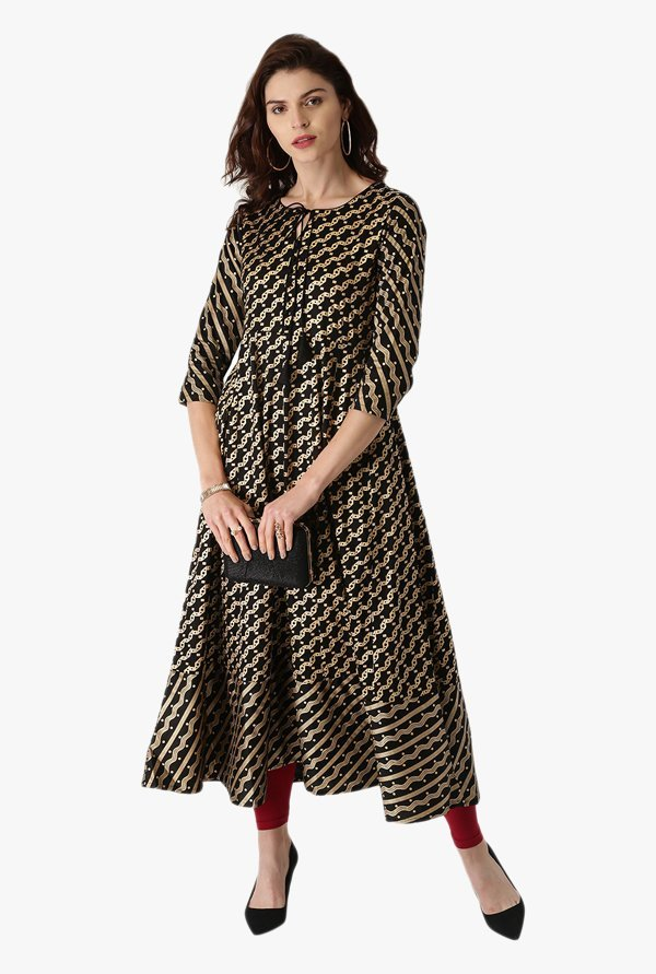 Libas Black Printed Cotton Anarkali Kurta