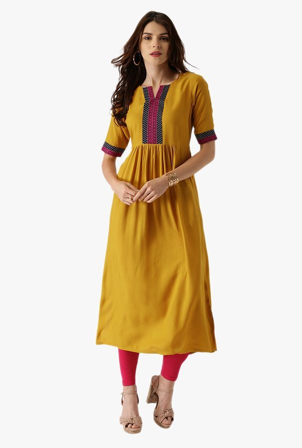 Libas Yellow Embroidered Rayon Anarkali Kurta