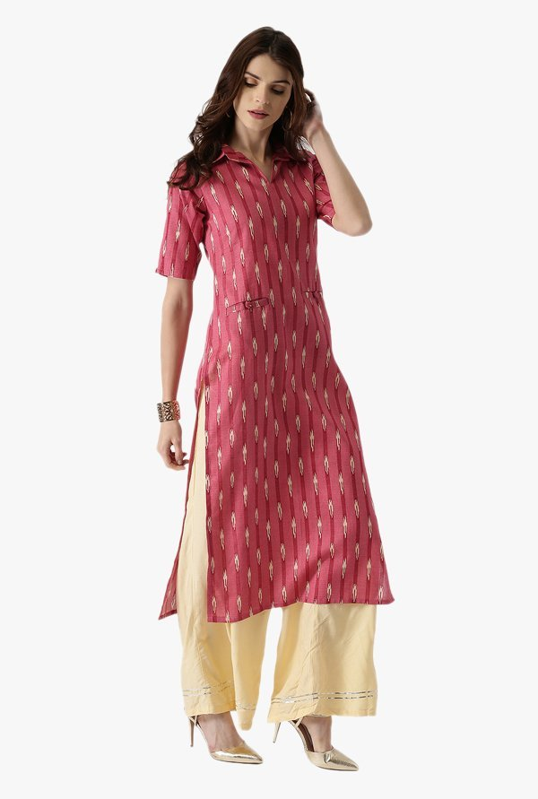 Libas Pink Printed Cotton Straight Kurta
