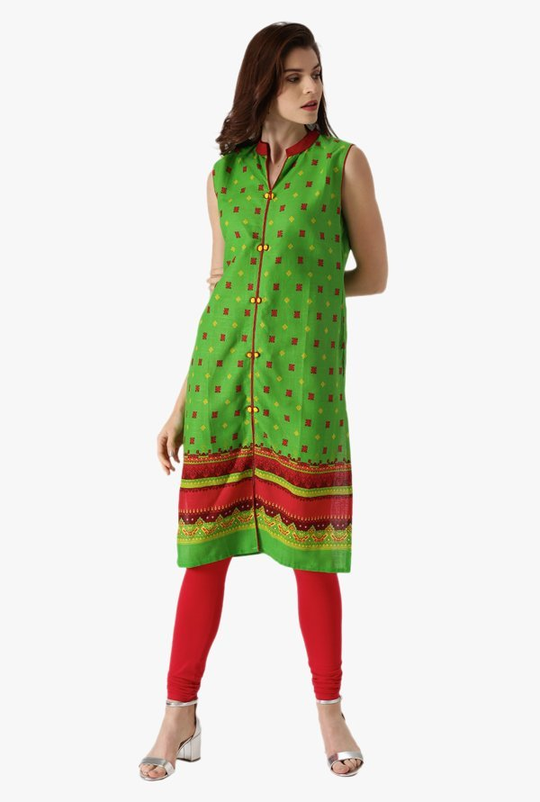 Libas Green Printed Cotton Straight Kurta