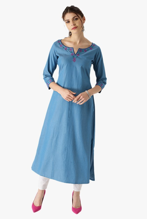 Libas Blue Embroidered Cotton Denim Kurta