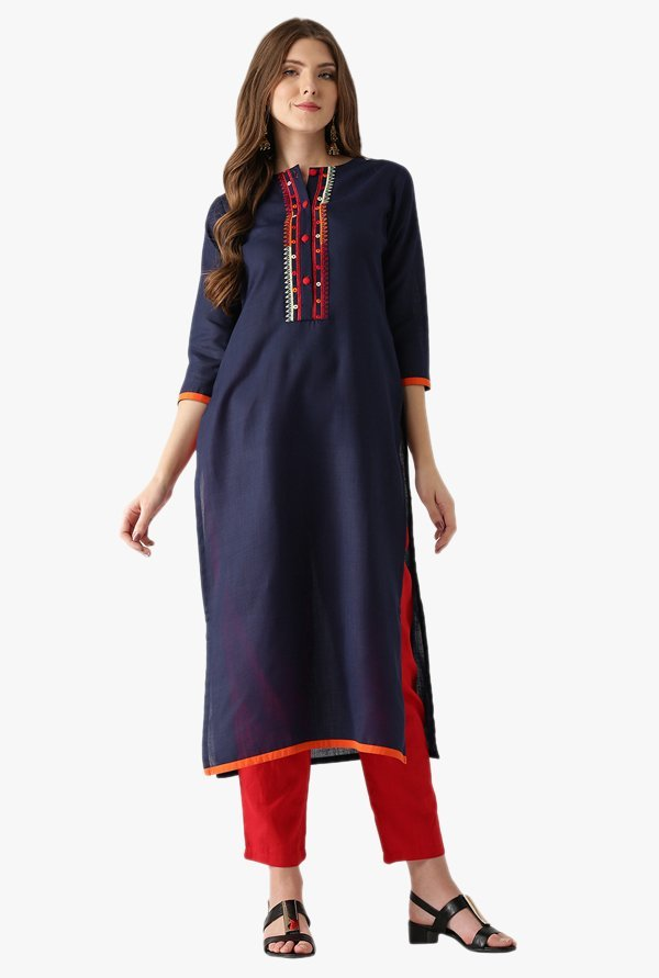 Libas Navy Textured Cotton Straight Kurta