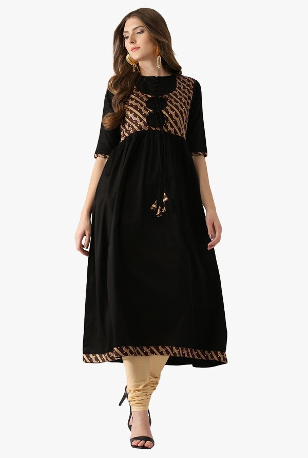 Libas Black Printed Cotton Kurta