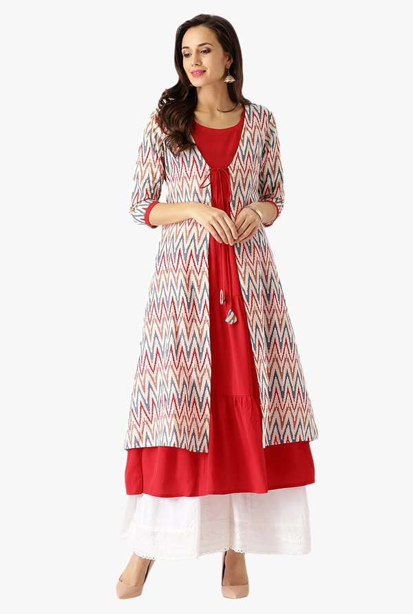 Libas Red & Off White Printed Cotton Kurta With Jacket
