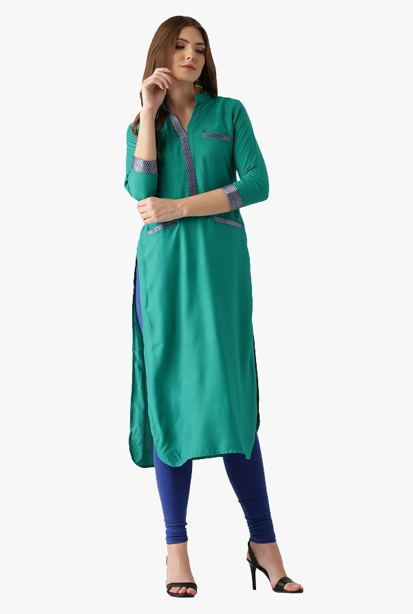 Libas Green Regular Fit Rayon Pathani Kurta