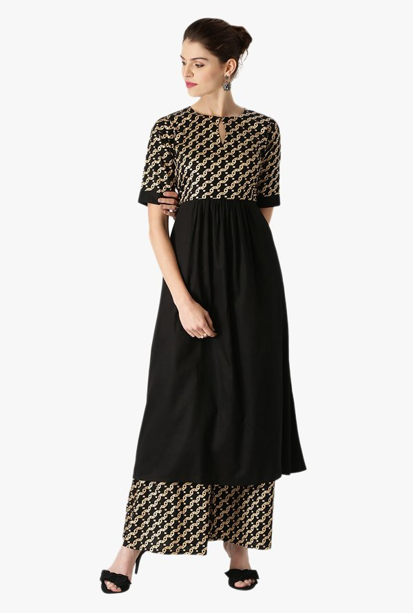 Libas Black Printed Cotton Kurta With Printed Palazzo