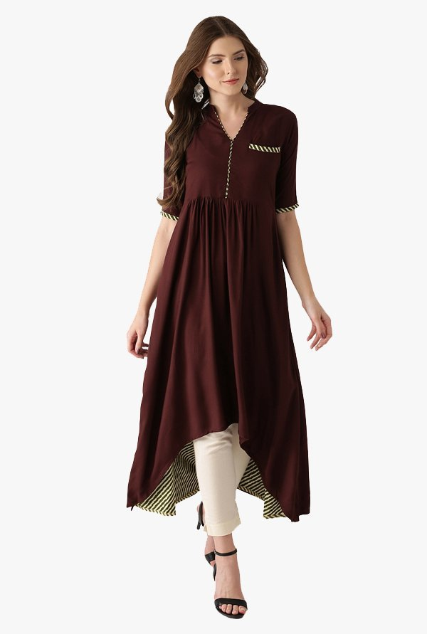 Libas Brown Regular Fit Rayon A-Line Kurta