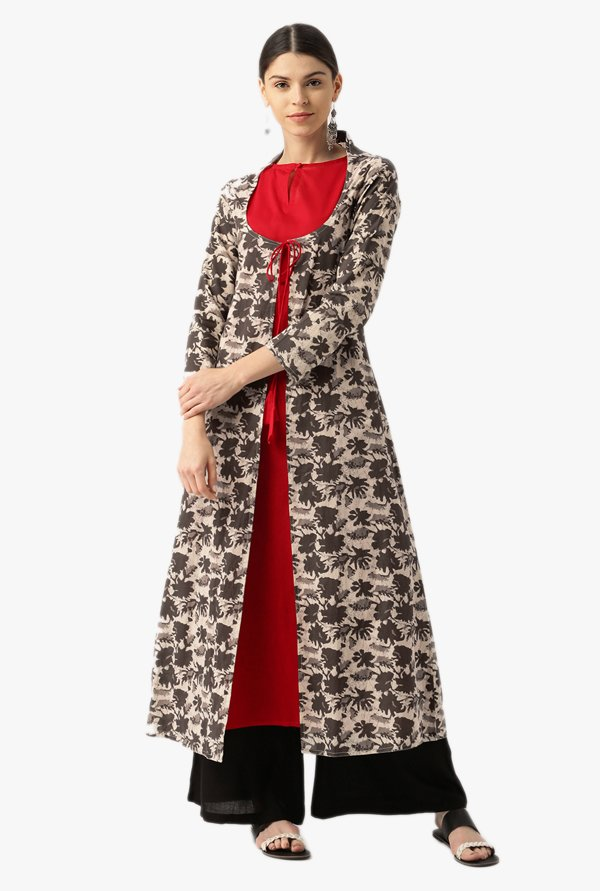 Desi Fusion Red & Brown Printed Cotton A-Line Kurta