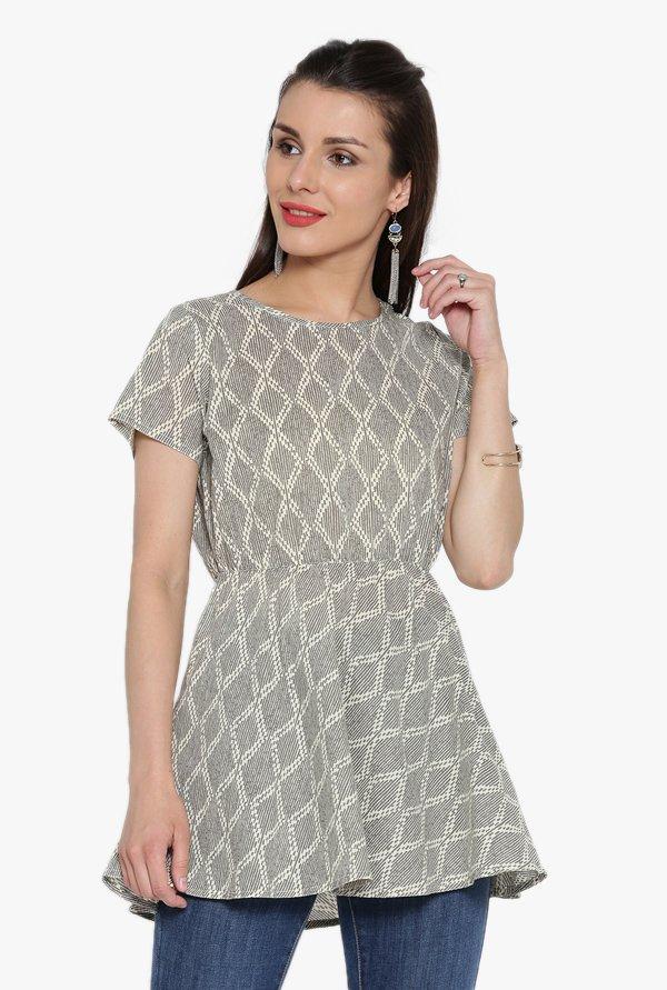 Jaipur Kurti Grey Printed Cotton Top