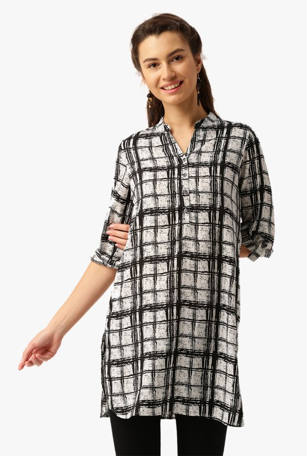 Desi Fusion Black & White Checks Polyester Top