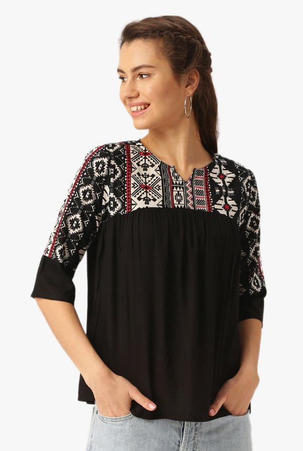 Desi Fusion Black Printed Cotton Top