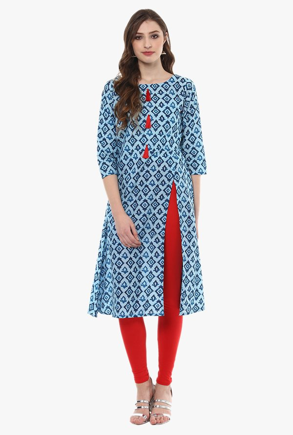 Ziyaa Blue Printed Cotton A-Line Kurta