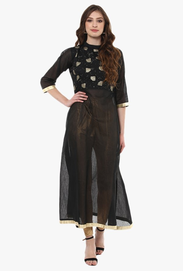 Ziyaa Black Printed Chanderi Flared Kurta